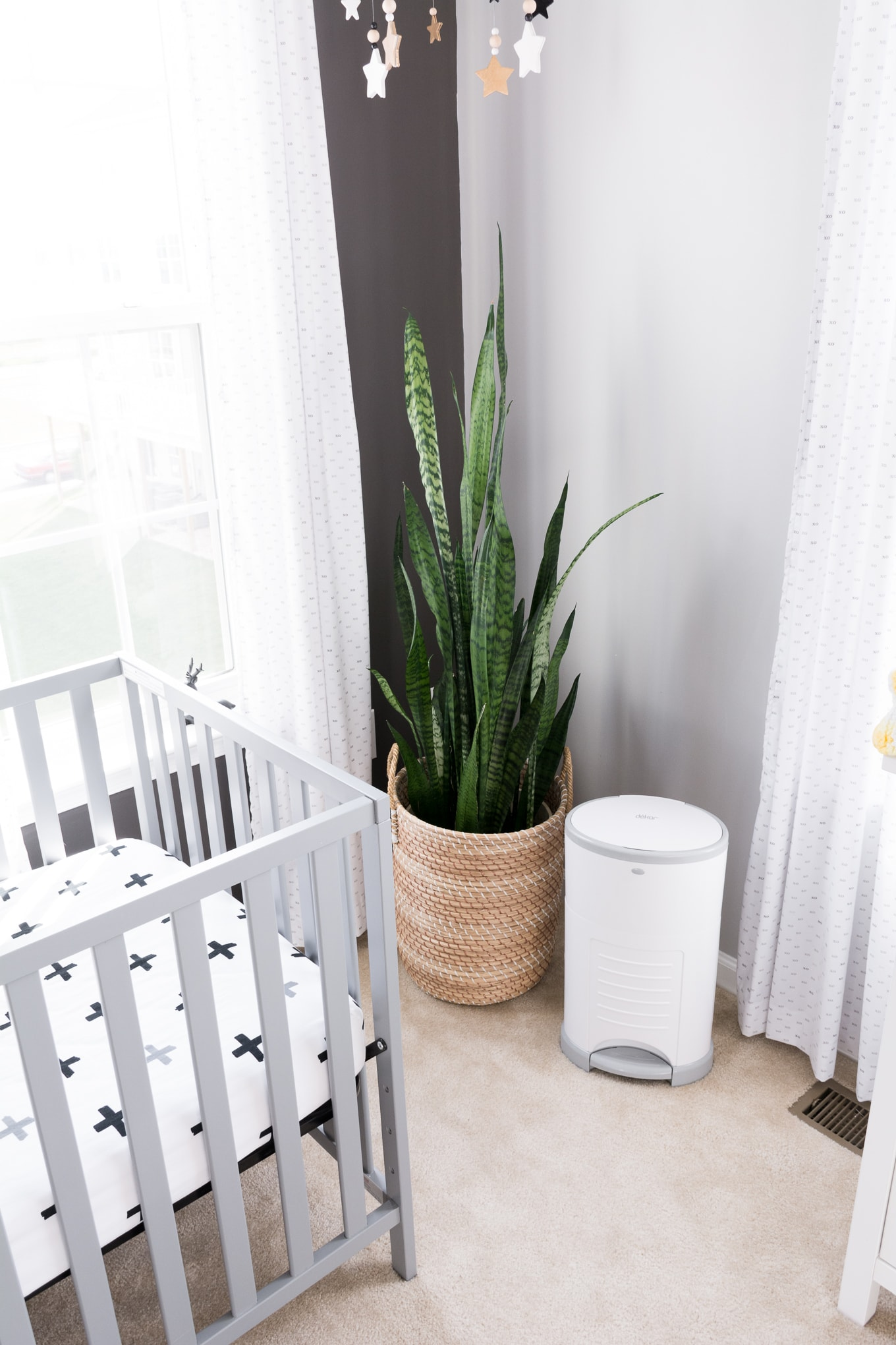 A Modern and Neutral Nursery // Behr Silver City, Behr Dark Granite