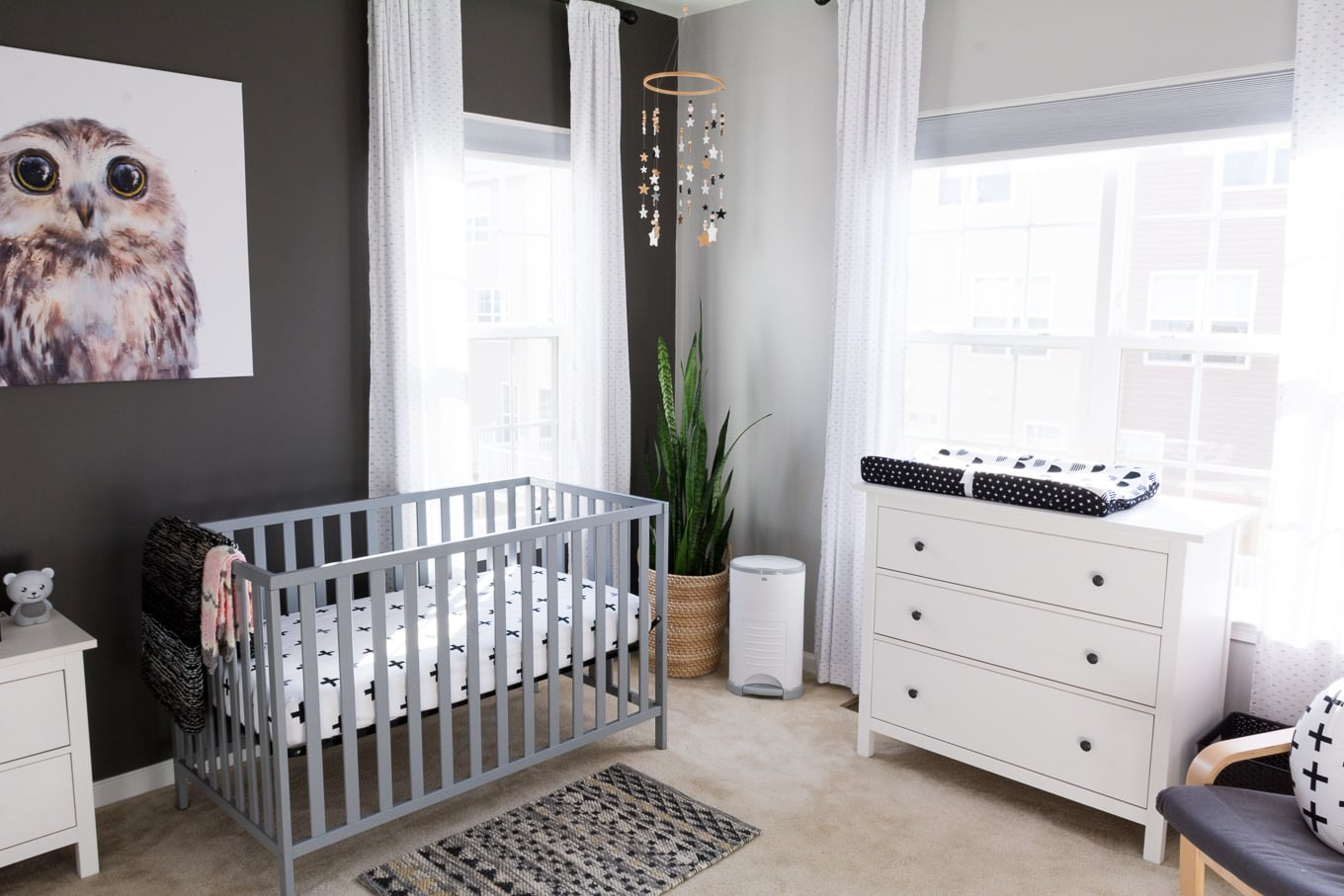 A Modern and Neutral Nursery // Behr Silver City, Behr Dark Granite // Ikea Hemnes in nursery