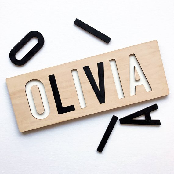 Custom black and white name puzzle for baby