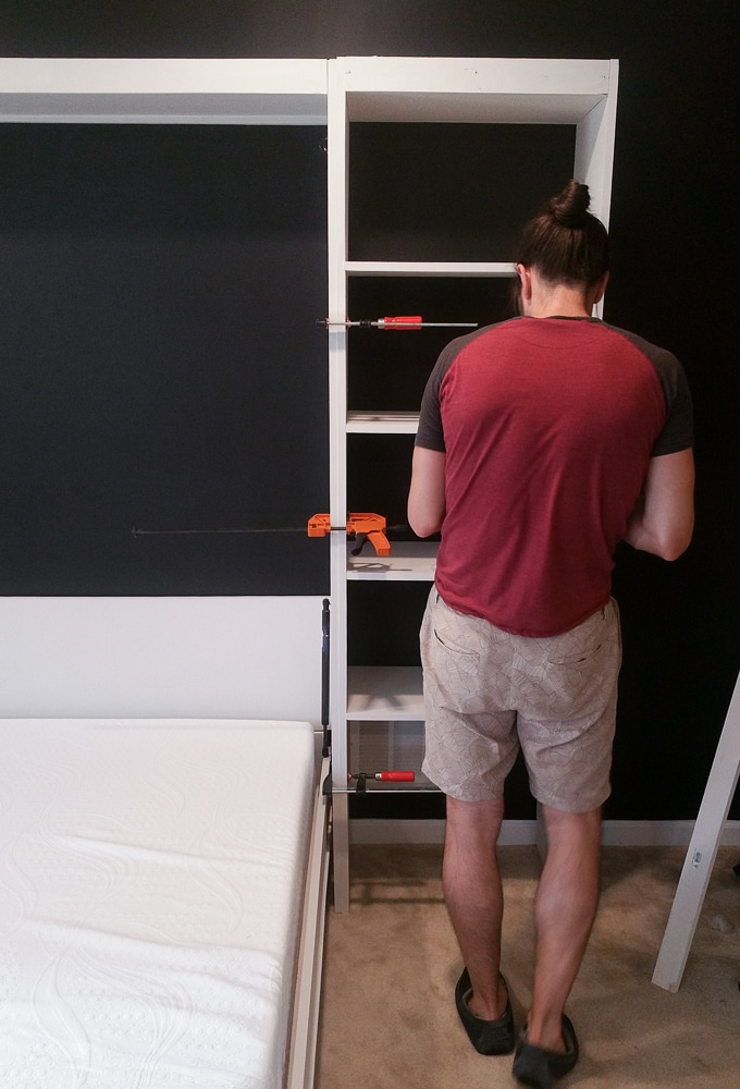 Assembling the entire DIY murphy bed unit with shelving