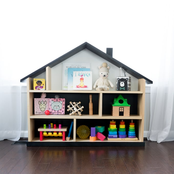 DIY modern dollhouse bookcase