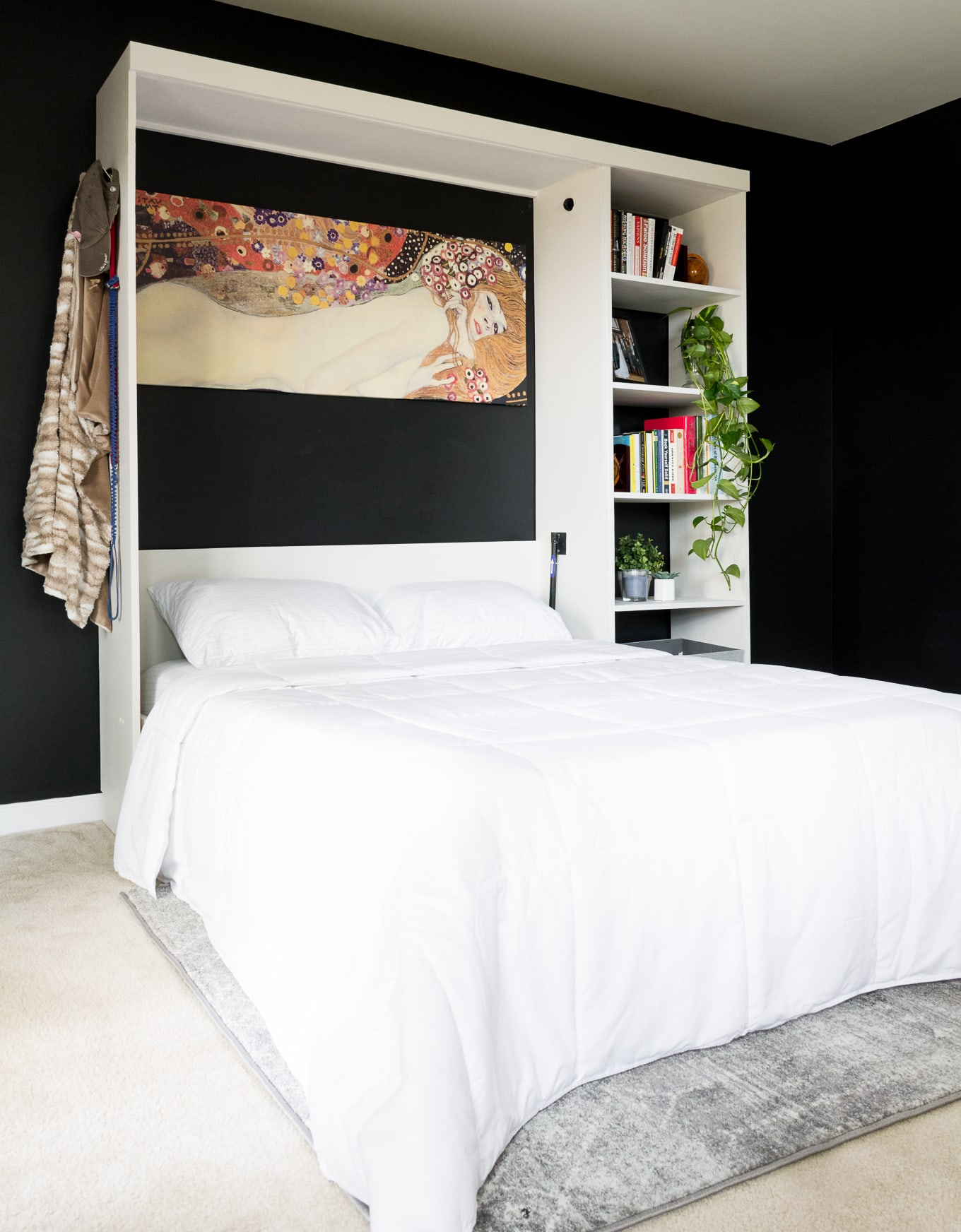 Modern-style DIY murphy bed // Sherwin-Williams Basalt Powder // Sherwin-Williams Tricorn Black // Office Guest Bedroom combo // DIY Murphy Bed kit // DIY Murphy bed build plans