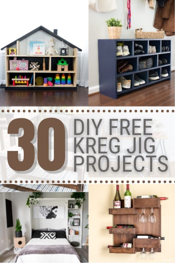 I'm sharing 30 totally free Kreg Jig project plans that use pocket hole joinery, from tables to shelving to storage cubbies and more.