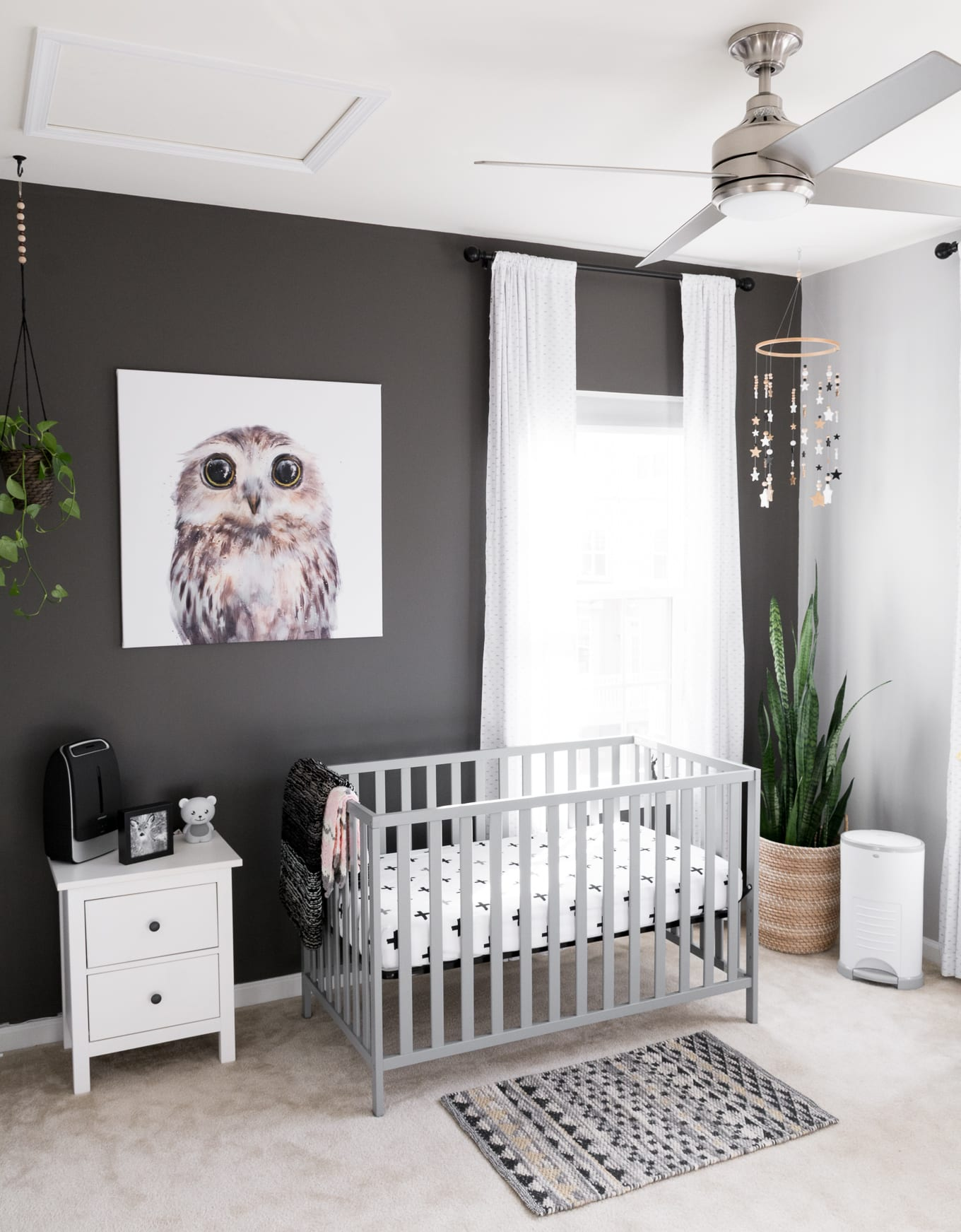 Gender-neutral nursery in a Modern Minimal Townhome