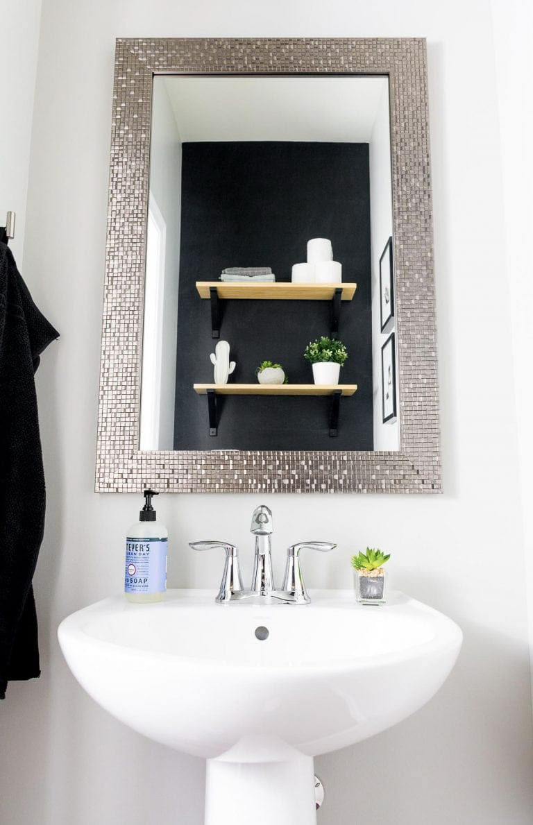 Simple, modern powder room