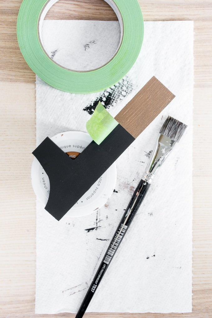 painting a wooden number