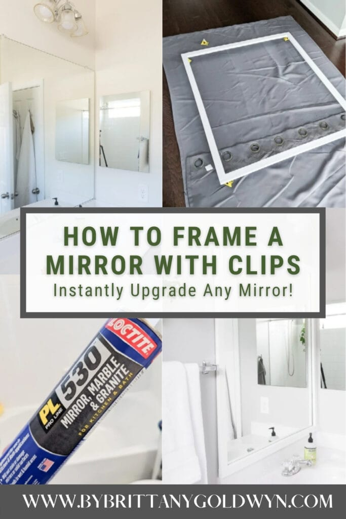image collage of framing a mirror with text overlay