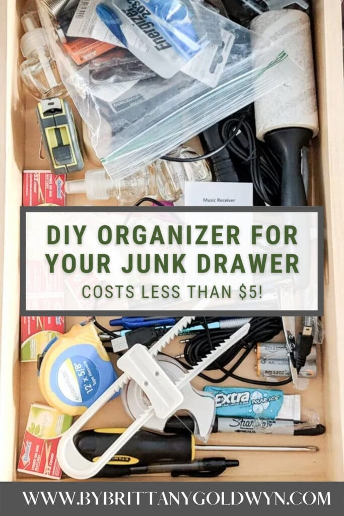 image collage of junk drawer organizer with text overlay