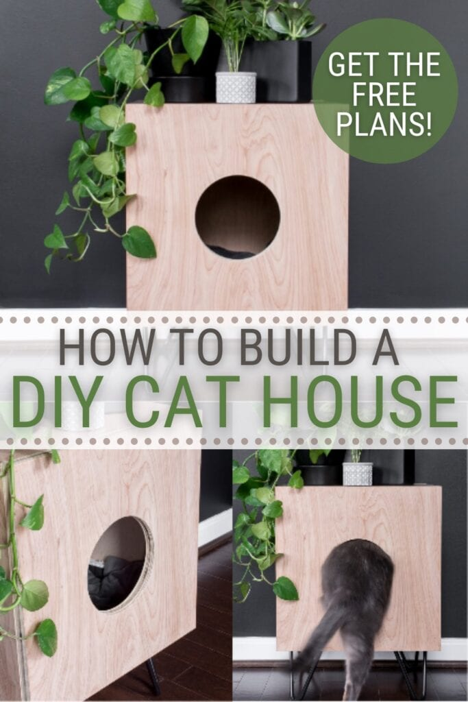 image collage of DIY cat house side table with text How to Build a DIY Cat House