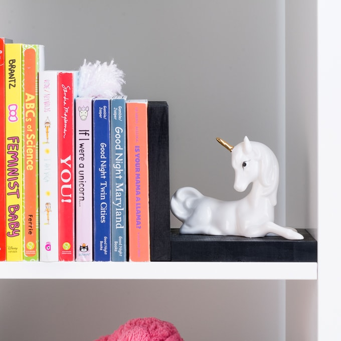 DIY Bookends for a Nursery using thrifted unicorns
