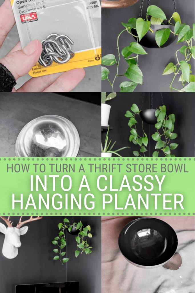 image collage of hanging planter you can DIY with text how to turn a thrift store bowl into a classy hanging planter