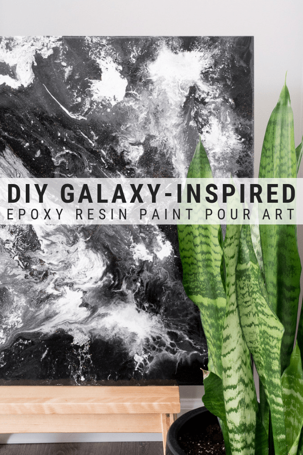 This post shares a great epoxy resin painting for beginners project. Learn how to make this super easy galaxy-inspired epoxy resin paint pour!