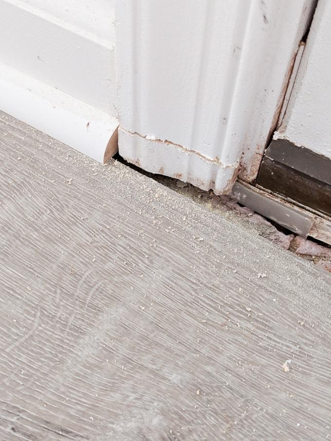 Cutting the door trim to fit our door threshold