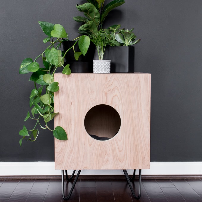indoor cat house side table with hairpin legs