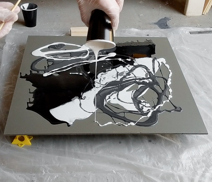Epoxy Resin Paint Pour Art on plywood