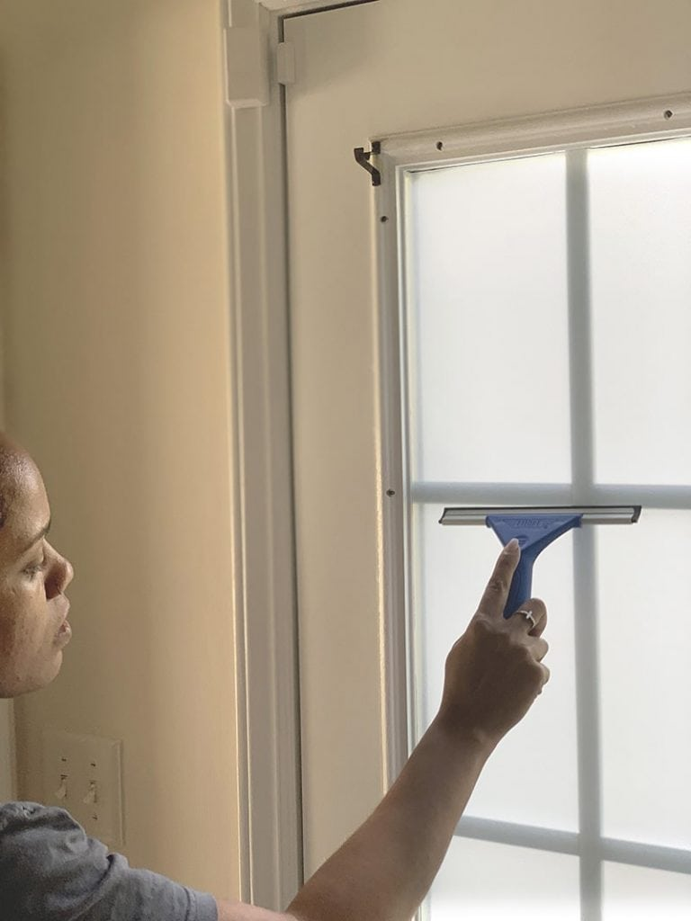 how to apply frosted window film evenly