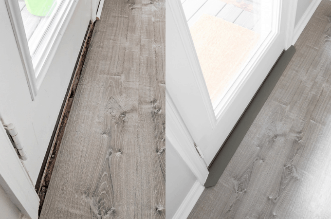 How installed a door threshold for vinyl flooring, including how we tackled installing the threshold over a concrete subfloor.
