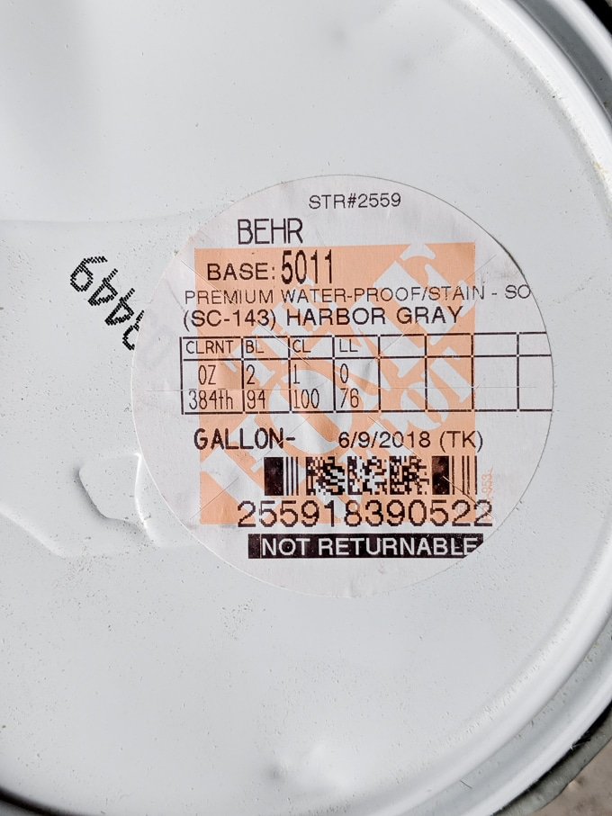 Behr waterproofing stain and sealer harbor gray
