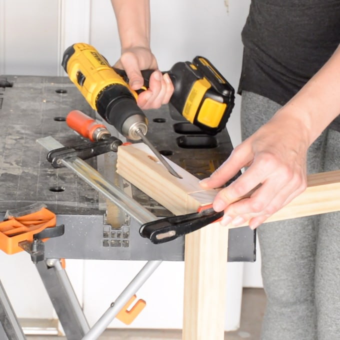 Using pocket hole joinery to build a dog food stand