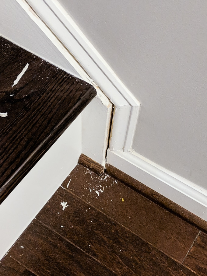 How to remove old caulk from wooden staircase