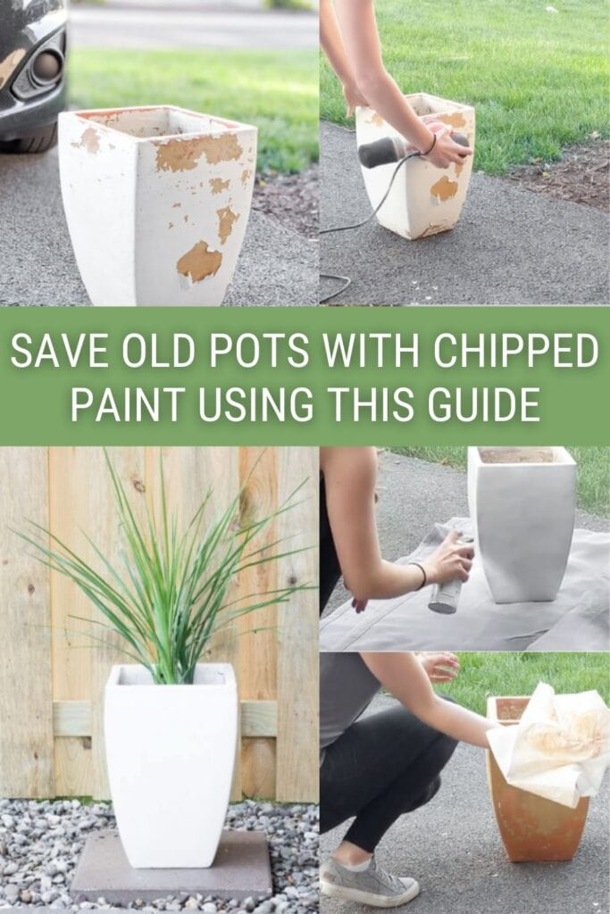 image collage how to remove paint from clay pots with text Save Old Pots with Cheeped Paint Using This Guide
