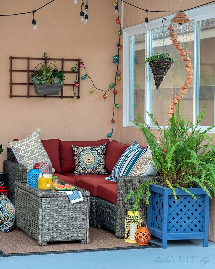 small colorful back patio decor