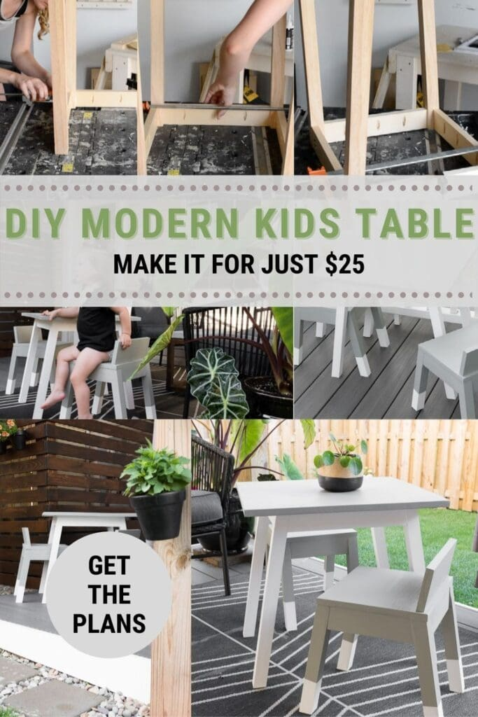 image collage of modern kids table build with text DIY Modern Kids Table Make it for Just $25