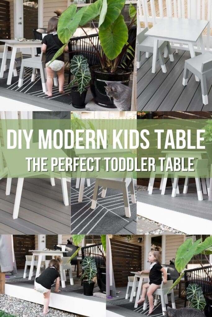 collage of modern kids table build with text DIY Modern Kids Table the Perfect Toddler Table