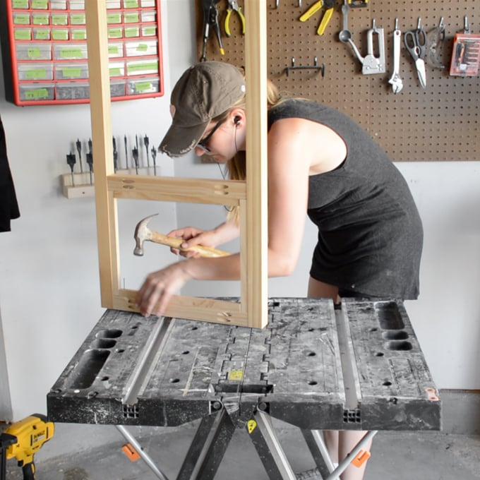 creating the pegboard frame
