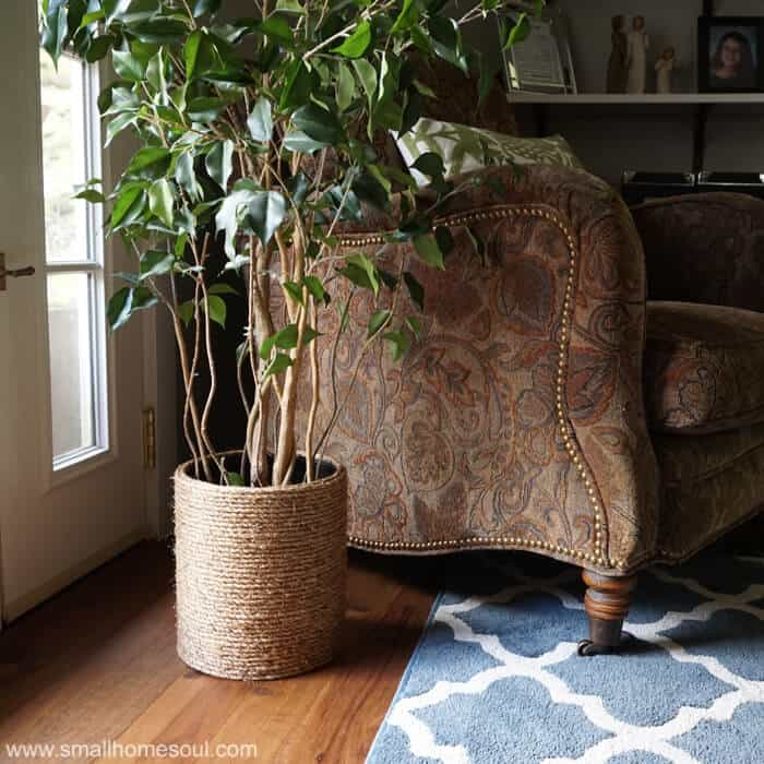 Rope Planter Basket from a Garbage Can