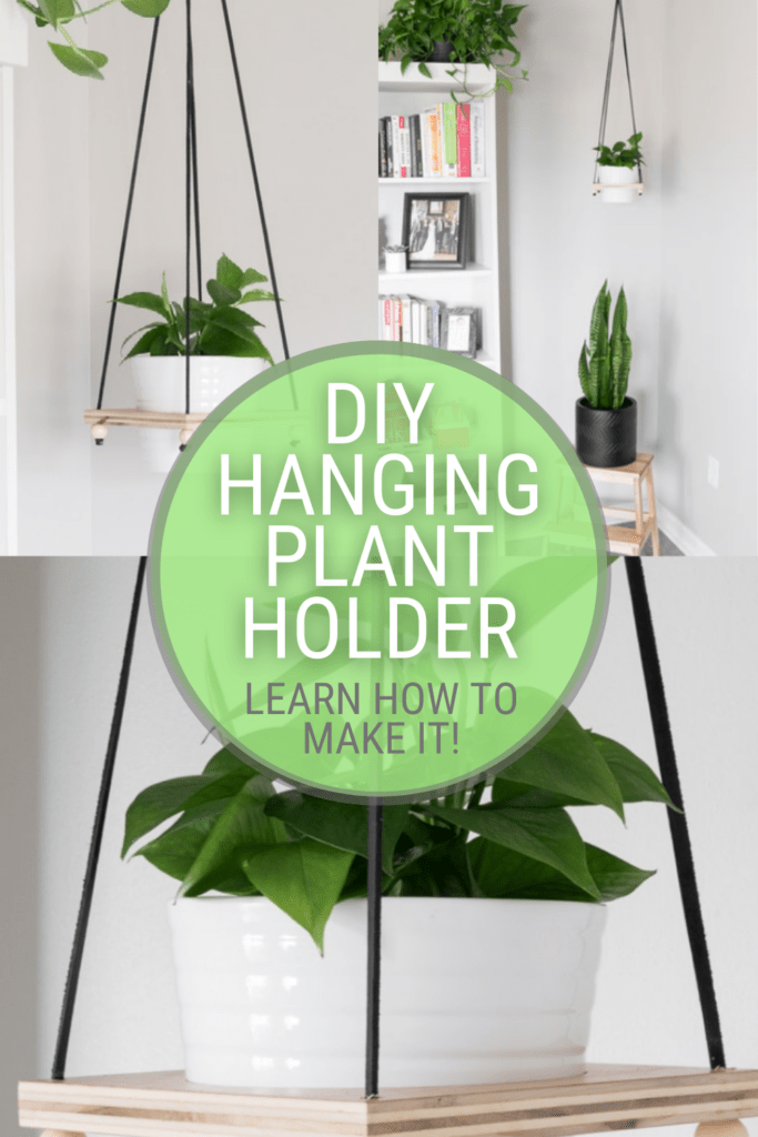 image collage of DIY hanging plant holder with text DIY hanging plant holder, learn how to make it!