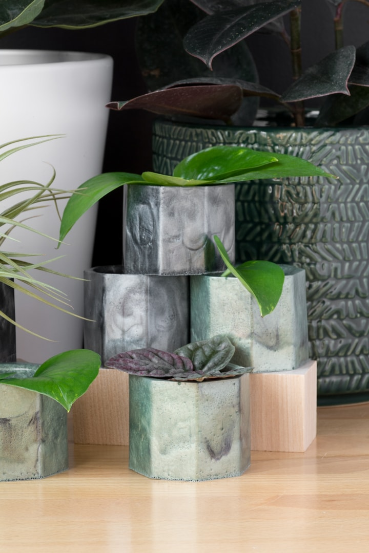 DIY Epoxy Resin Planters Using a Silicone Mold