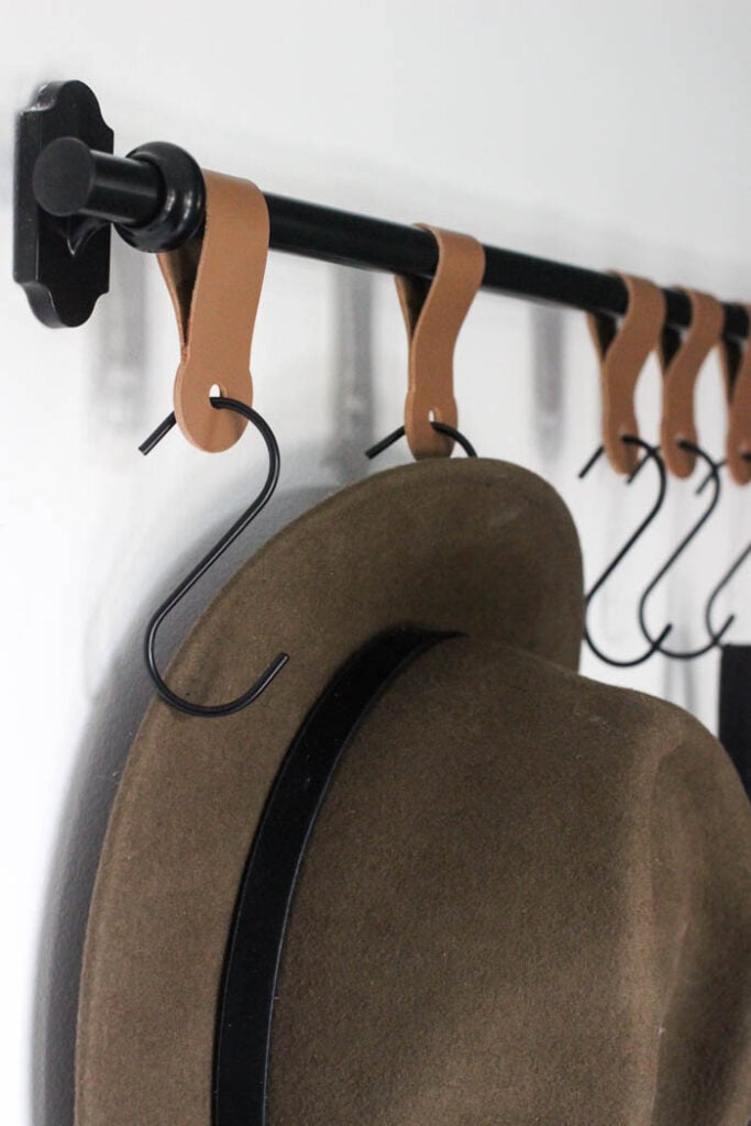 DIY leather coat hooks