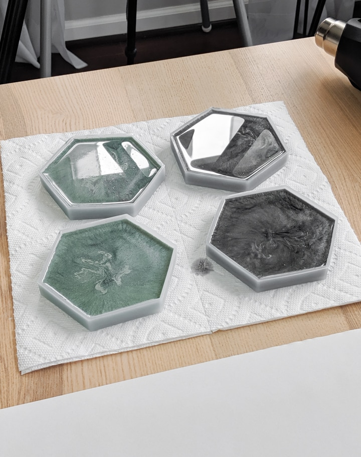 DIY epoxy resin coasters using a hexagon silicone coaster mold