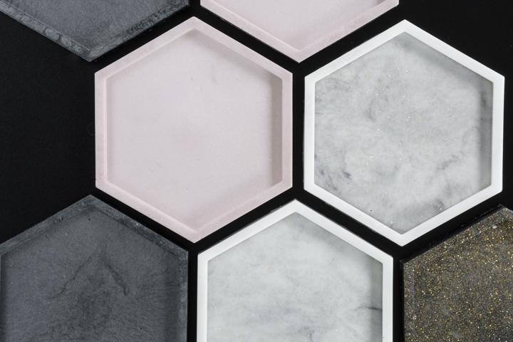 DIY epoxy resin coasters using a hexagon silicone coaster mold