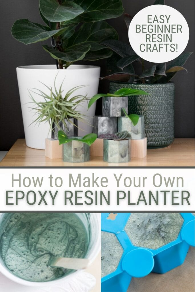image collage of epoxy in molds and epoxy planters with text How to Make Your Own Epoxy Resin Planter