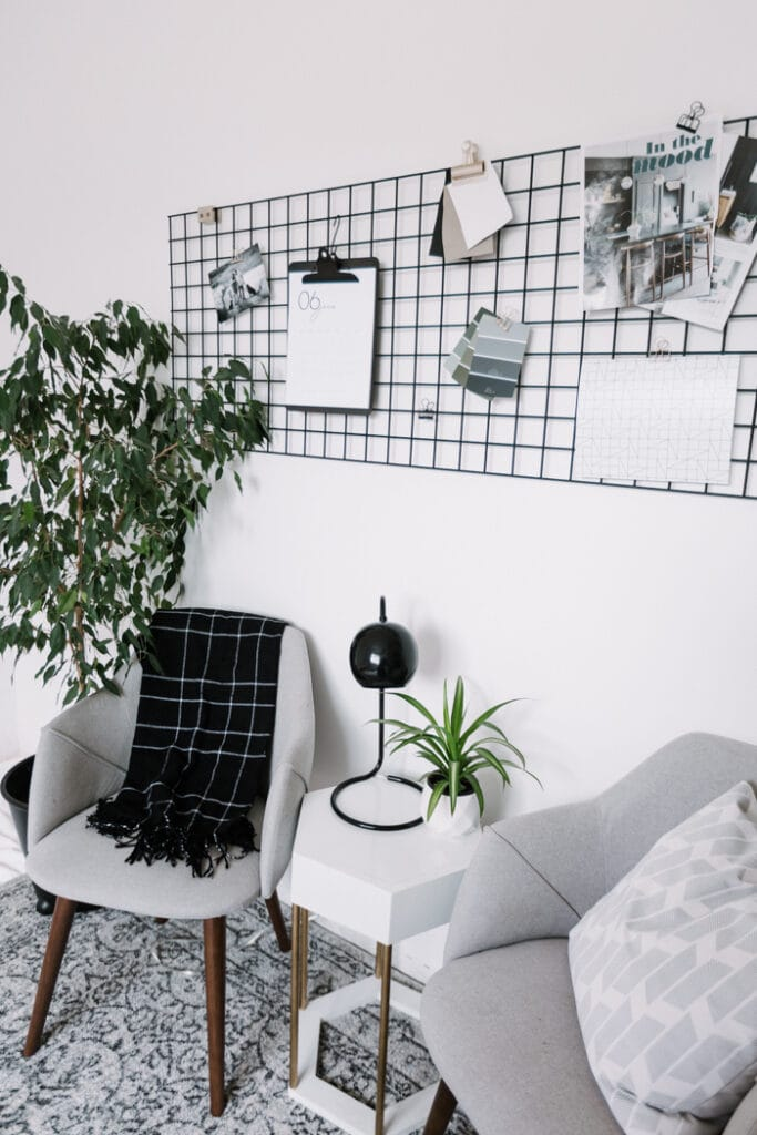 DIY wall grid for an office