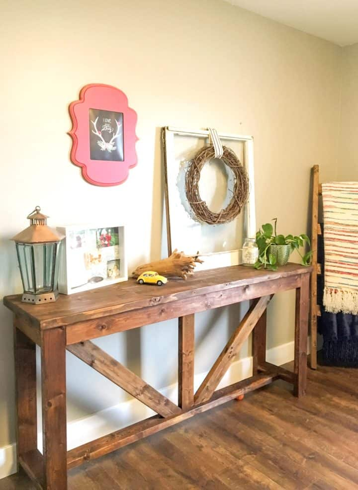 DIY Console Table Made Out of 2x4s