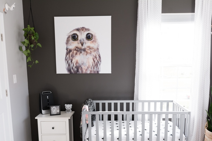 diy nursery canvas art using an owl tapestry