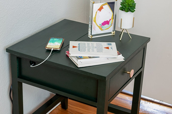 DIY nightstand with hidden charging station by Anika Gandhi from Anika's DIY Life