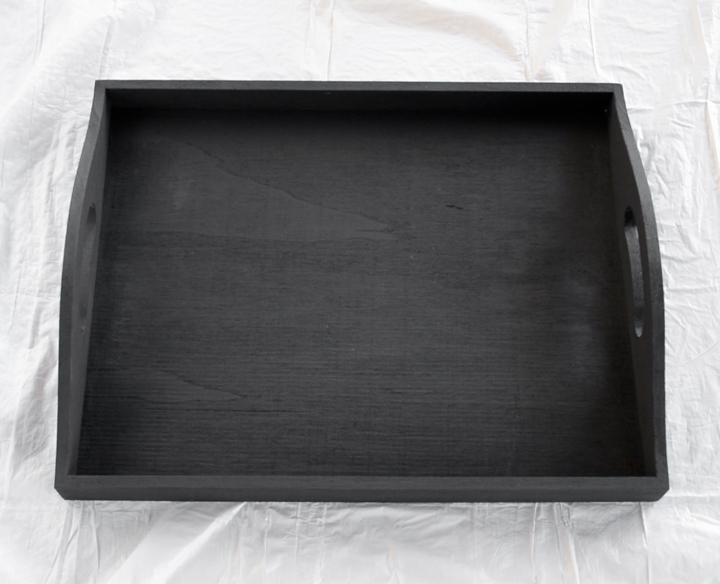 plain black painted tray