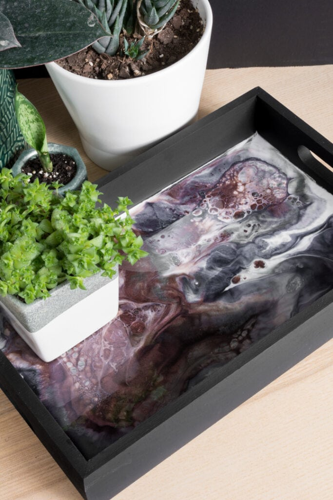 diy wood and resin tray