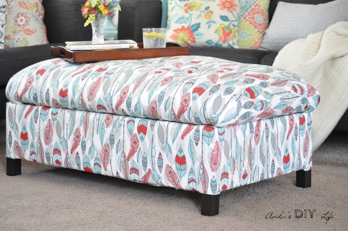 DIY UPHOLSTERED STORAGE OTTOMAN by Anika Gandhi from Anika's DIY Life