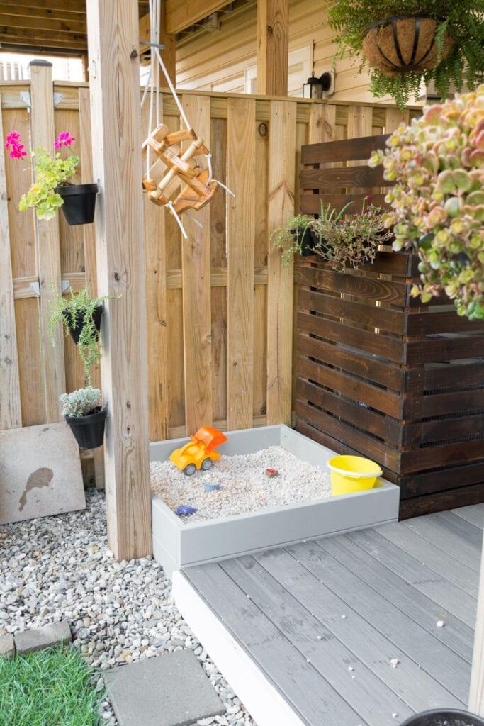 DIY rock box in a townhouse backyard