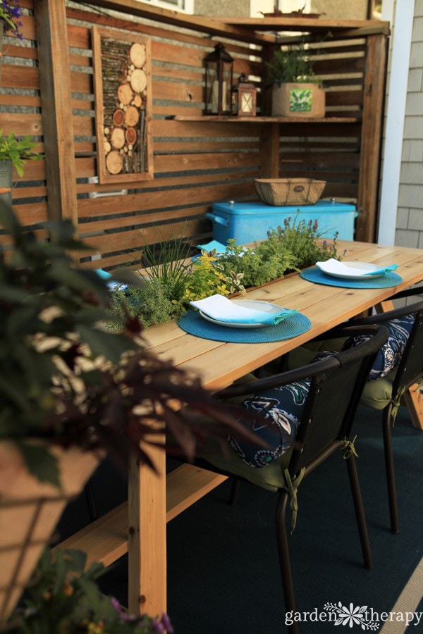 Beautiful outdoor table build with planter built in