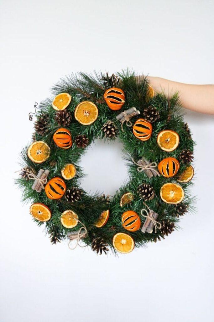 Christmas wreath with orange slices