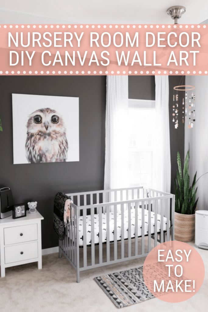 Image of nursery with crib and dresser and owl canvas on the wall with text Nursery Room Decor  DIY Canvas Wall Art