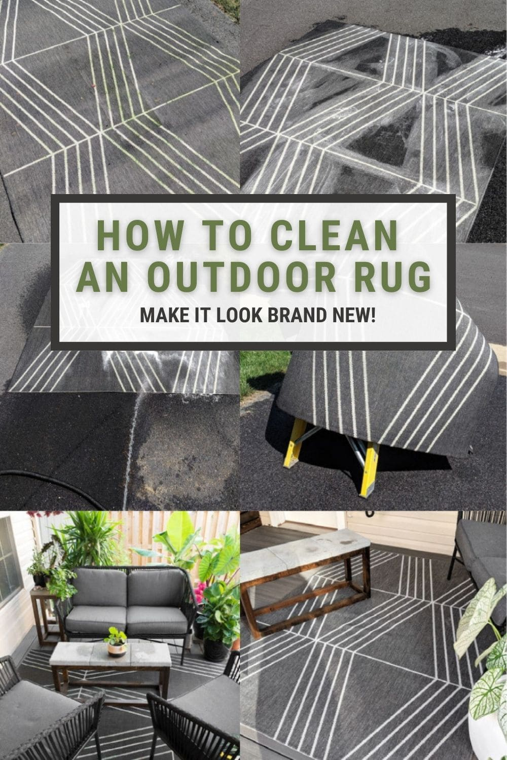 image collage of how to clean an outdoor rug with text how to clean an outdoor rug, make it look brand new!