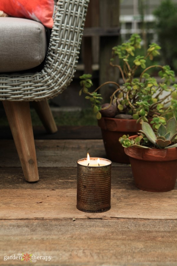 Tin can candle by Stephanie Rose from Garden Therapy
