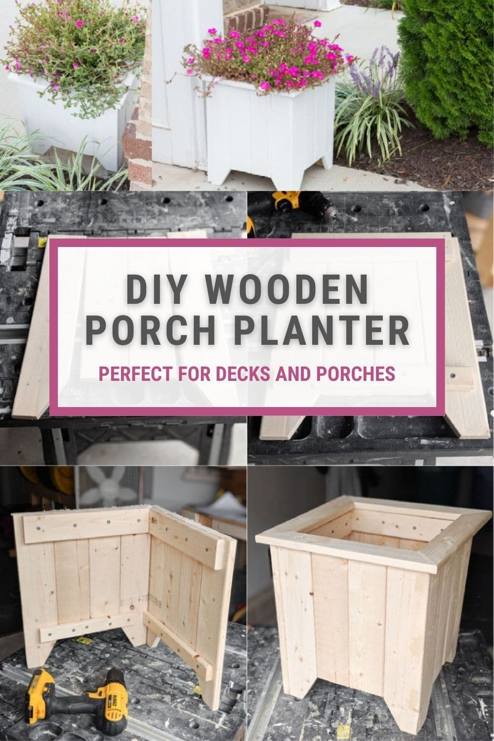 image collage of wooden porch planter box DIY with text DIY Wooden Porch Planter perfect for decks and porches